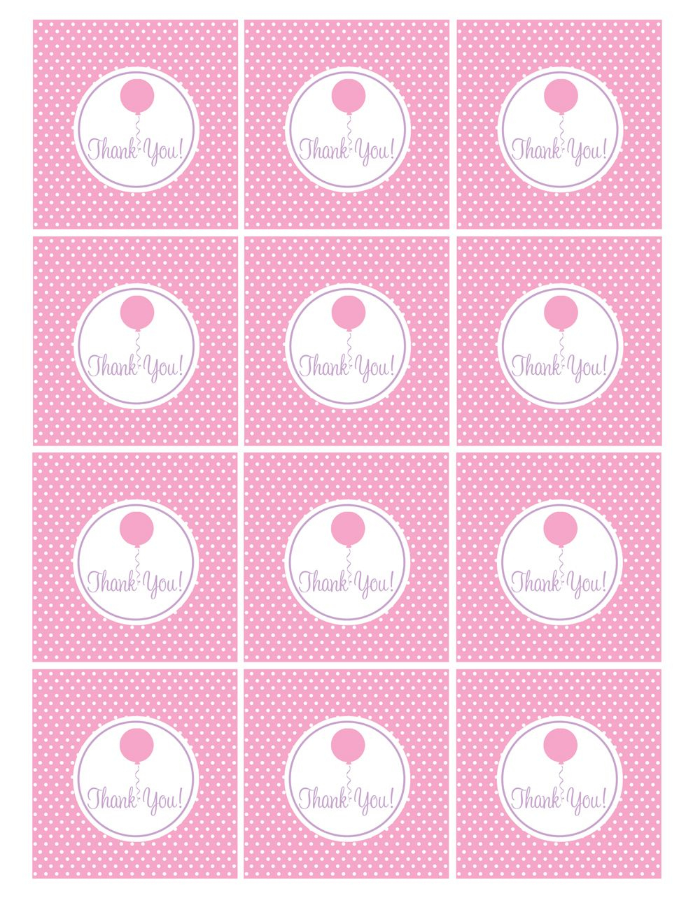 Free Pink And Purple (Girl) Birthday Printables From Green Apple - Free Printable Thank You Tags For Birthday Favors