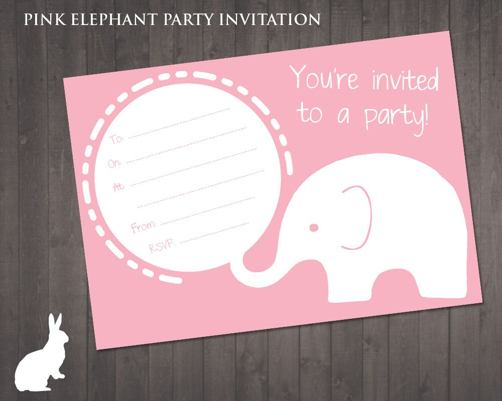 Free Pink Elephant Party Invitation | Ruby And The Rabbit | Owl - Free Printable Cheetah Birthday Invitations