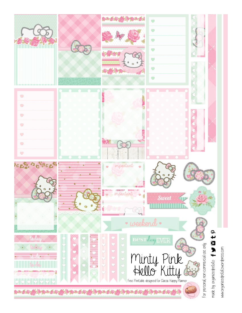 Free Planner Printable: Mint Green & Pink Hello Kitty | Planners - Hello Kitty Labels Printable Free