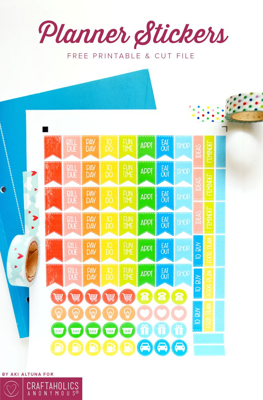 Free Planner Stickers Printable + Svg Cut File   Silhouette Planners - Free Printable Keyboard Stickers