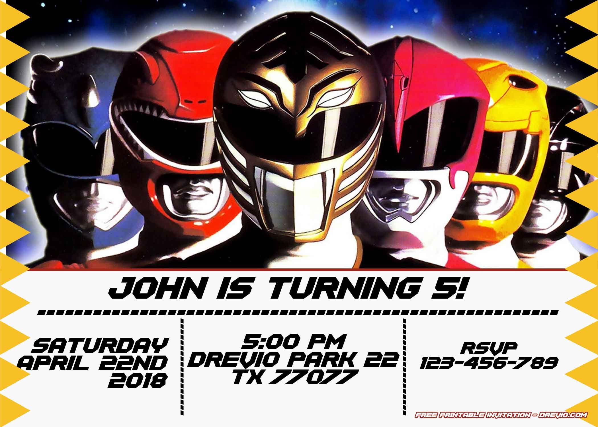 Free Power Rangers Birthday Invitation   Life's A Party - Free Printable Power Ranger Birthday Invitations