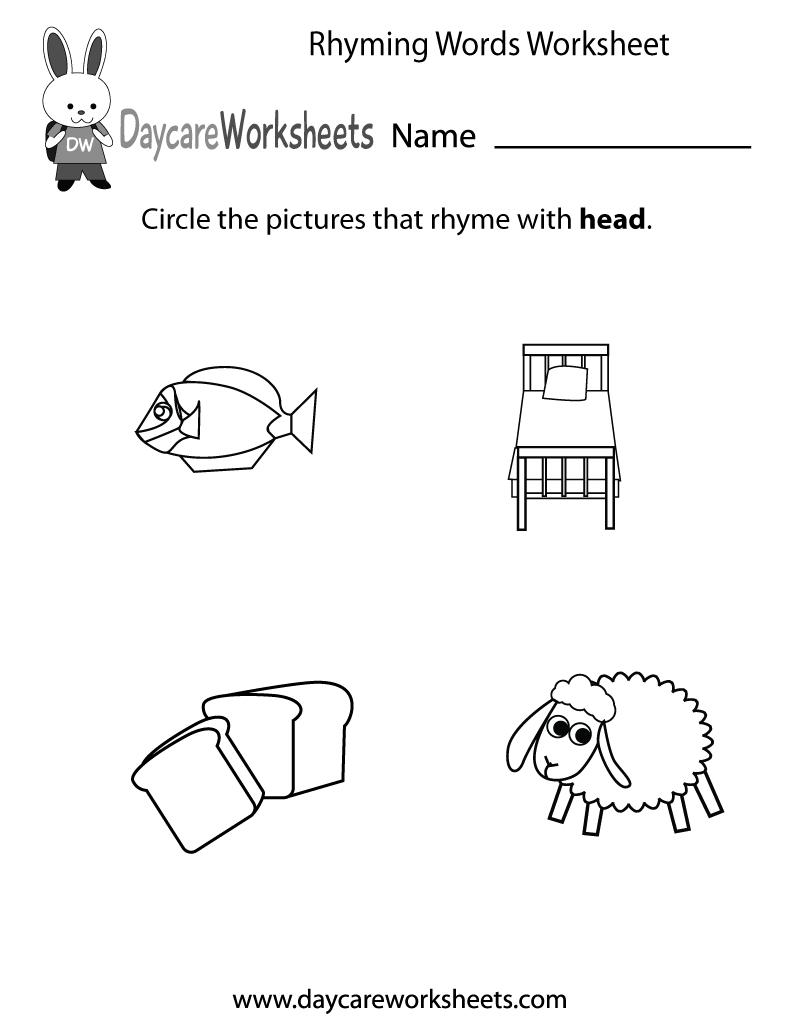 Free Preschool Rhyming Practice Worksheet - Free Printable Rhyming Words Worksheets