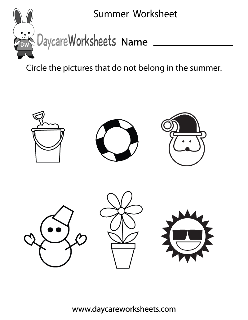 Free Preschool Summer Worksheet - Free Printable Seasons Worksheets For Kindergarten