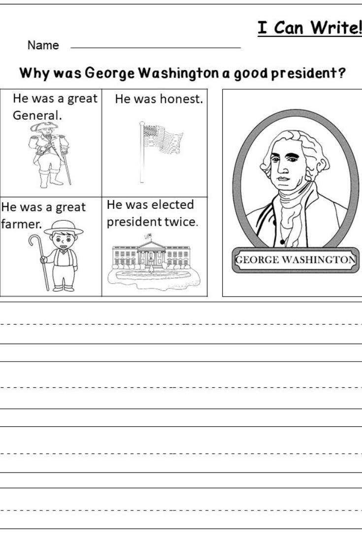 Free President's Day Writing Worksheet | Kindergarten Writing And - Free Printable George Washington Worksheets