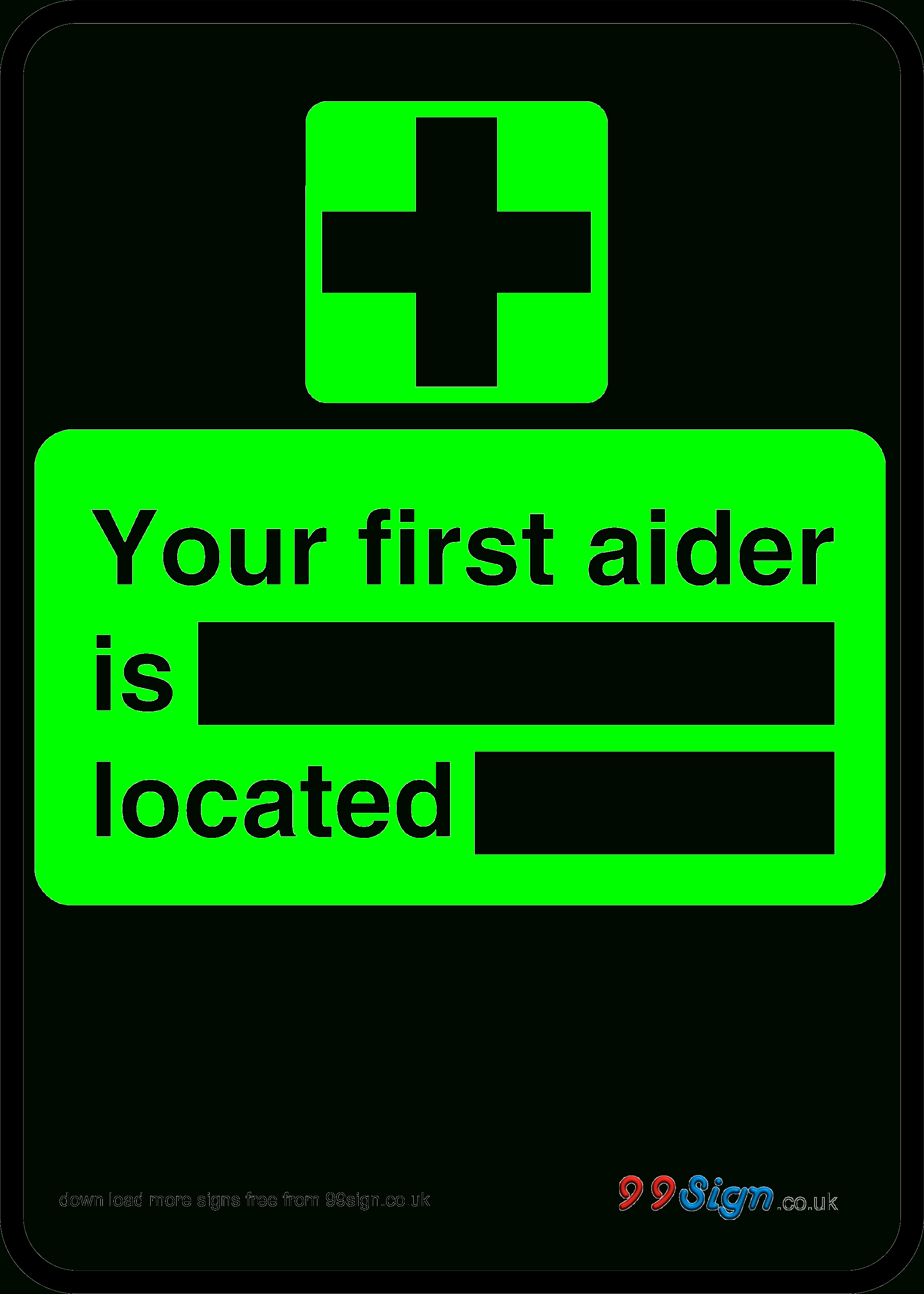 Free Prinable First Aid Sign Your First Aider Is Located Free - Free Printable Sign Templates