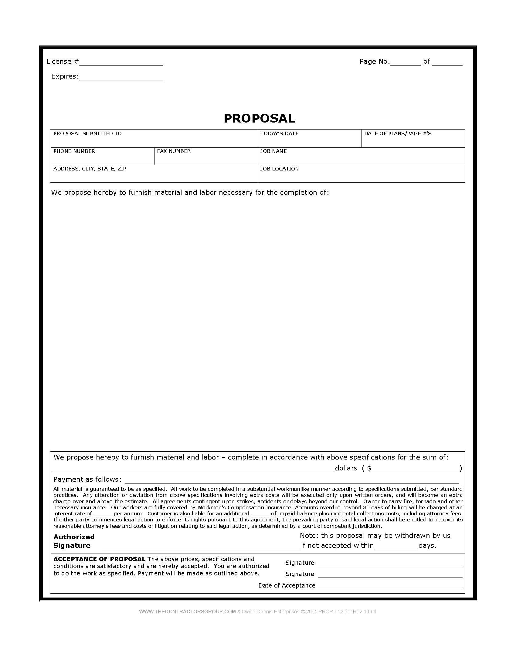 Free Print Contractor Proposal Forms | Construction Proposal Form - Free Printable Home Improvement Contracts