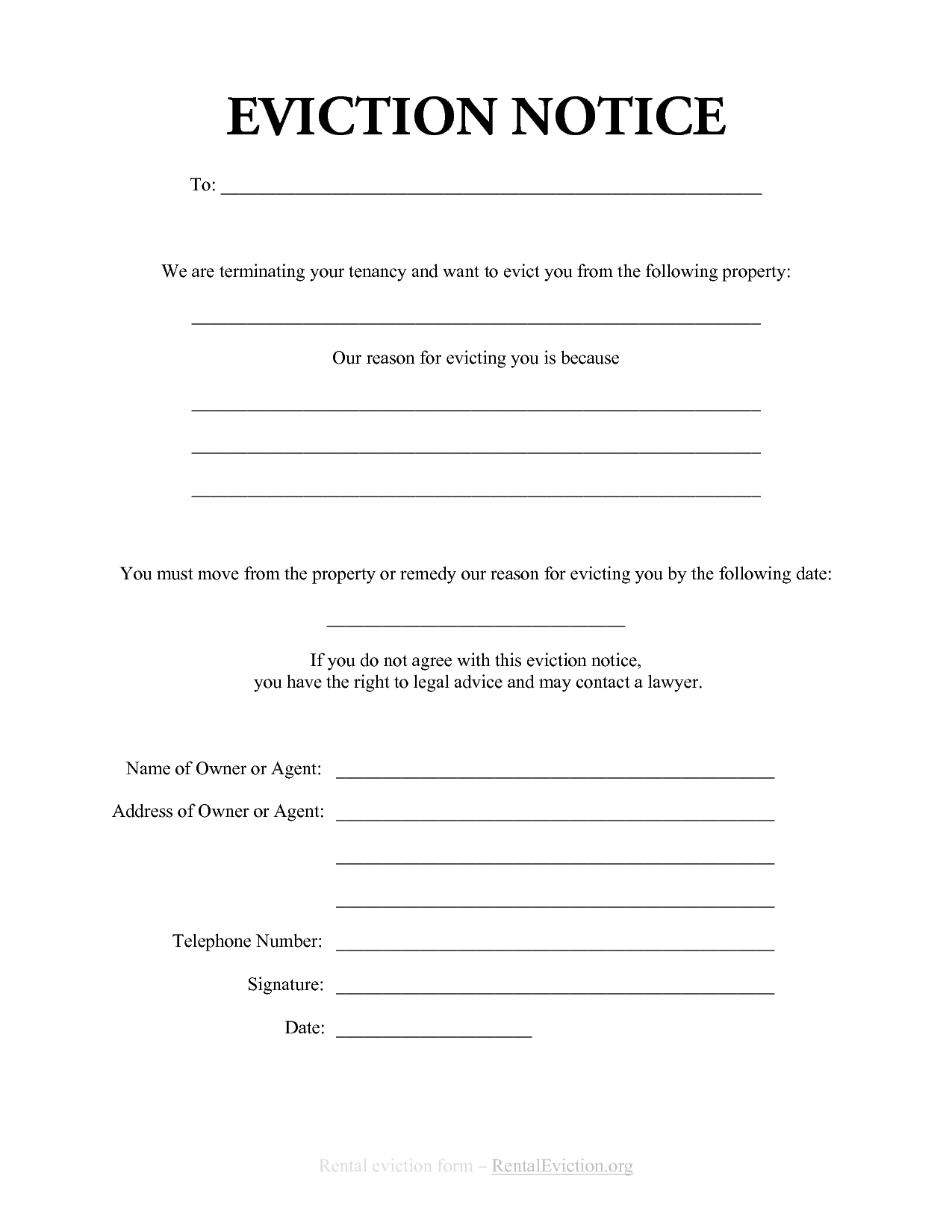 Free Print Out Eviction Notices | Free Rental Eviction Notice | G - Free Printable Eviction Notice Ohio