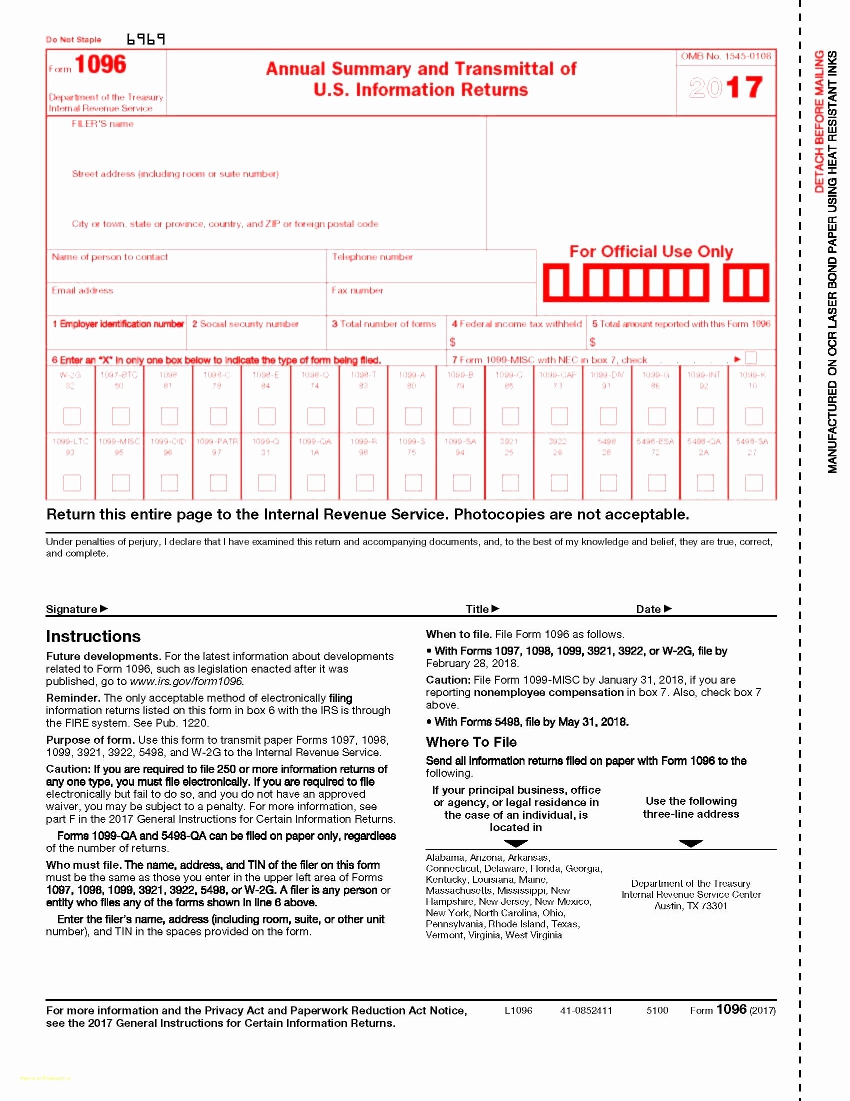 Free Printable 1096 Form 2015 Form 1096 Template 2015 Fresh Irs Form - Free Printable 1096 Form 2015