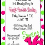 Free Printable 16Th Birthday Party Invitation Templates Luxury   Free Printable 16Th Birthday Party Invitation Templates