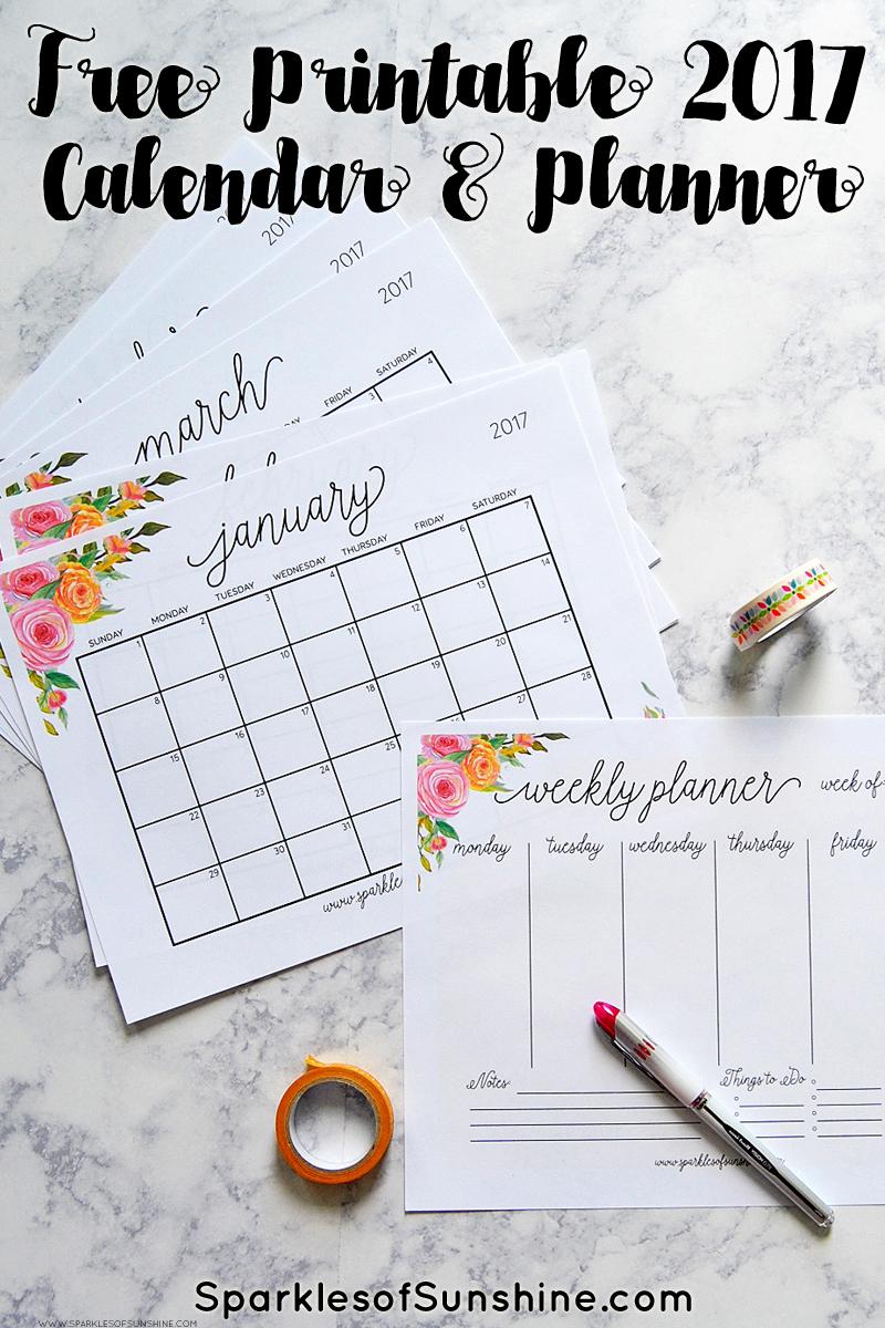 Free Printable 2017 Monthly Calendar And Weekly Planner - Free Cute Printable Planner 2017