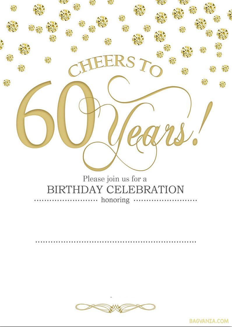 Free Printable 60Th Birthday | Kellies 50Th Bday Ideas | 60Th - Free Printable Birthday Invitations For Him