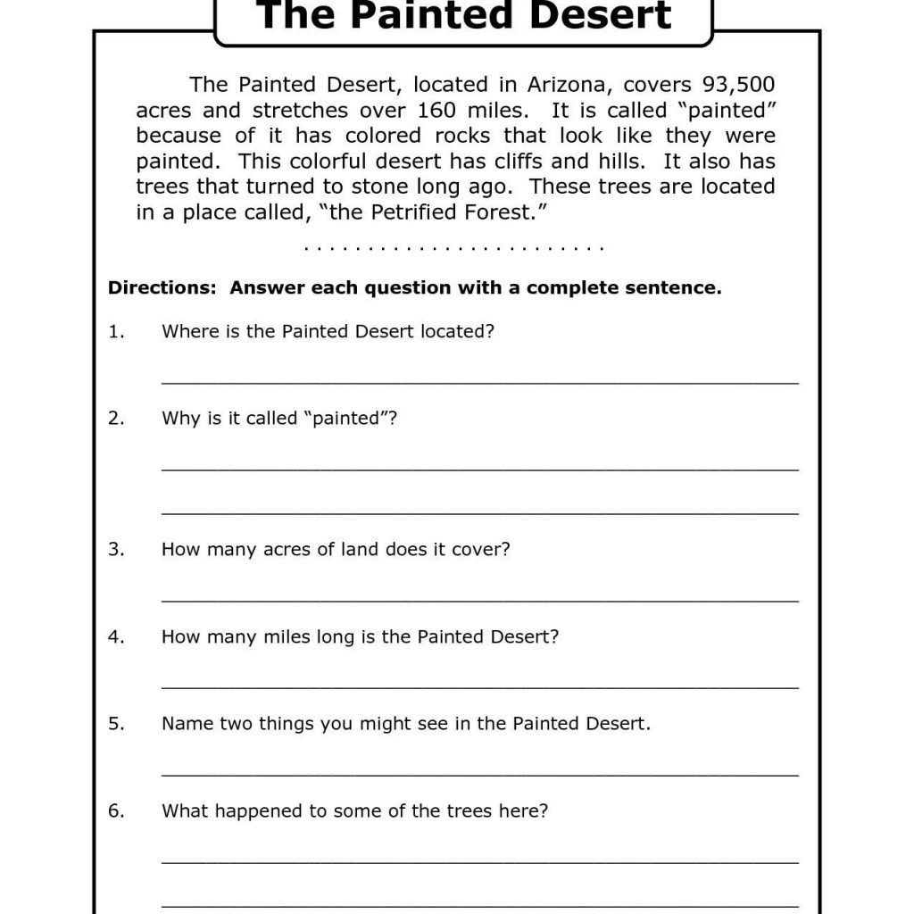 Free Printable 7Th Grade Reading Comprehension Worksheets Grade 3 - Free Printable Reading Comprehension Worksheets Grade 5