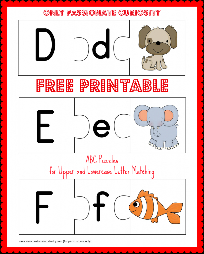 Free Printable Abc Puzzles: Upper And Lowercase Letter Matching - Free Printable Matching Cards
