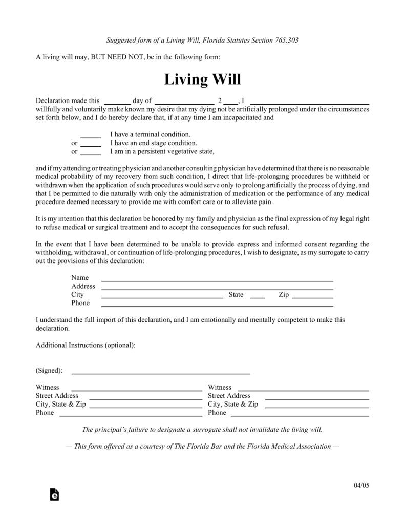 Free Printable Advance Directive Florida - 6.10.hus-Noorderpad.de • - Free Printable Advance Directive Form
