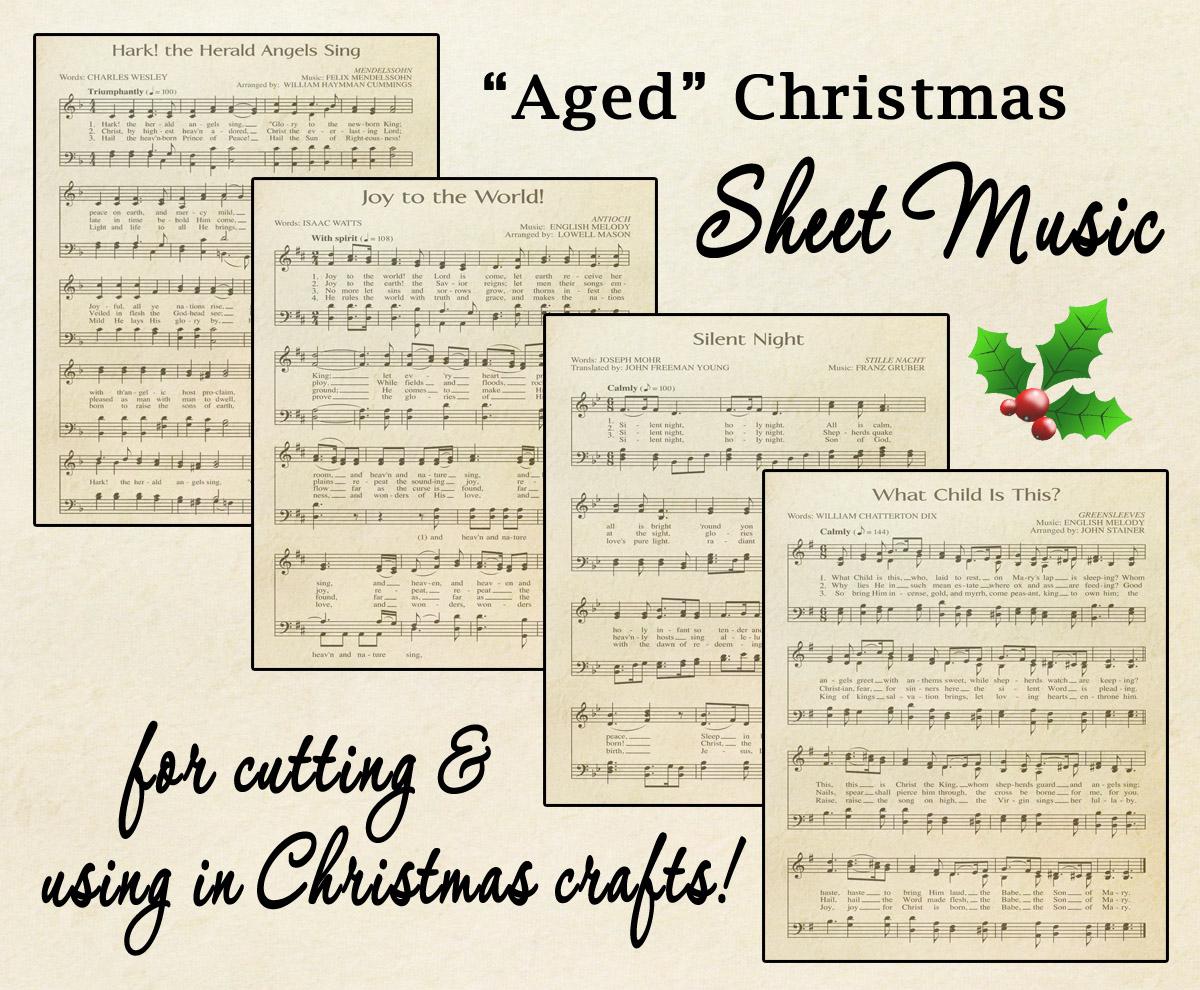 "Free Printable ""Aged"" Music Sheets | Celebrating Holidays - Free Printable Christmas Music Sheets Piano"