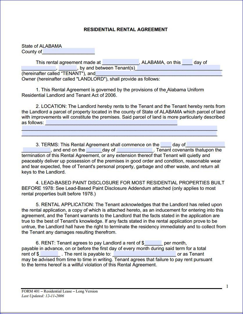 Free Printable Alabama Month To Month Rental Agreement - Printable - Free Printable Lease Agreement