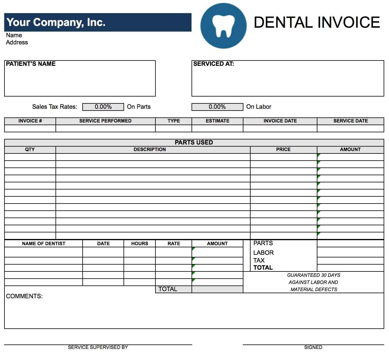 Free Printable Auto Repair Invoice Template And Free Auto Repair - Free Printable Auto Repair Invoice Template