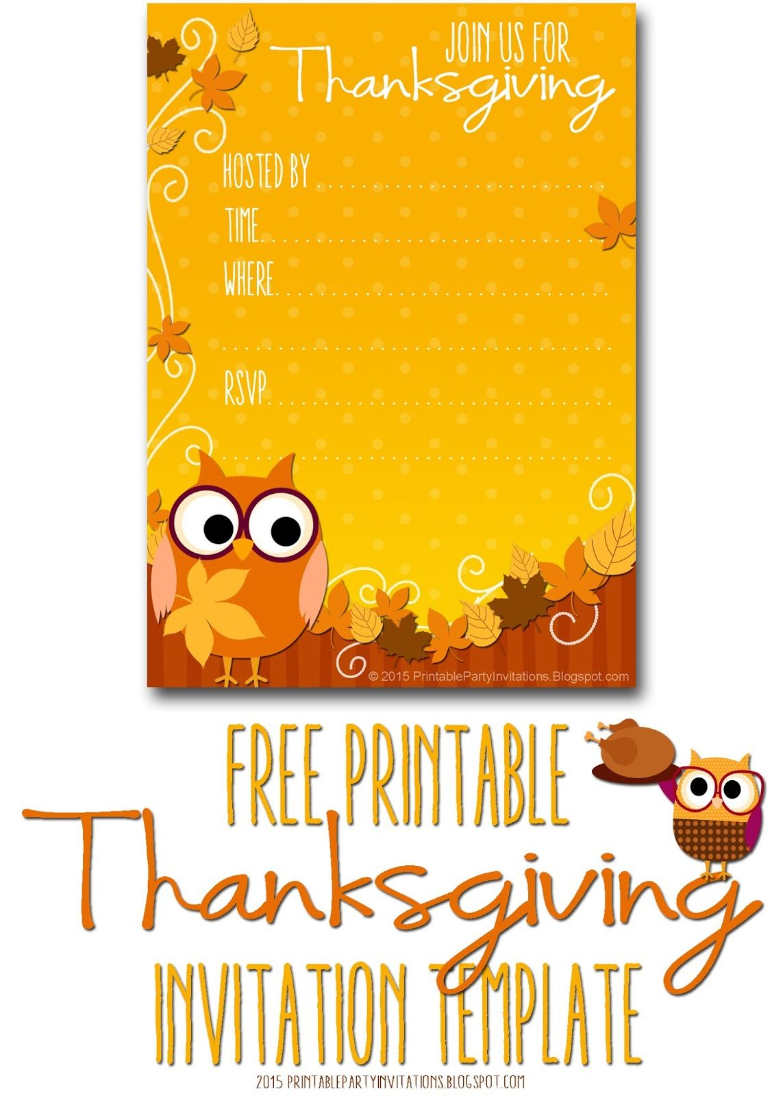 Free Printable Autumn Owl Thanksgiving Invitation Template | Party - Free Printable Thanksgiving Invitations