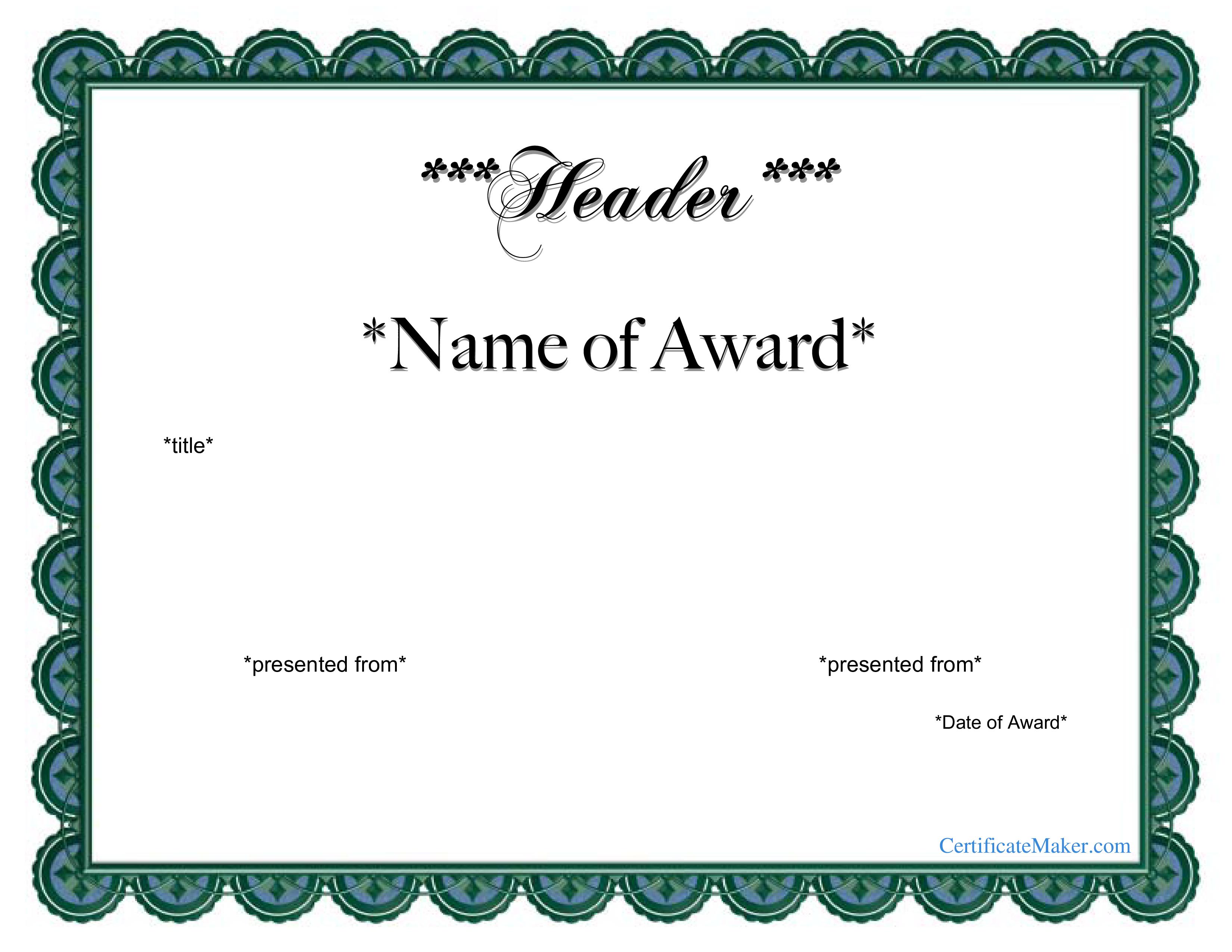 Free Printable Award Certificate | Templates At Allbusinesstemplates - Free Printable Certificate Templates