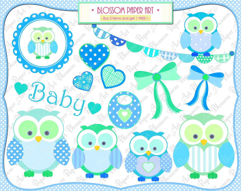Free Printable Baby Clip Art   Baby Owl Boy - Clipart - Baby Shower - Free Printable Baby Shower Clip Art