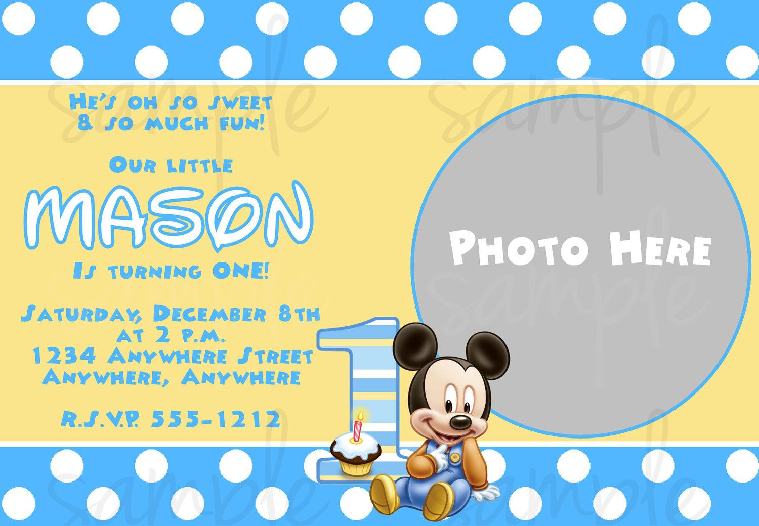 Free Printable Baby Mickey Mouse 1St Birthday Invitations | Andrei - Free Printable Baby Mickey Mouse Birthday Invitations