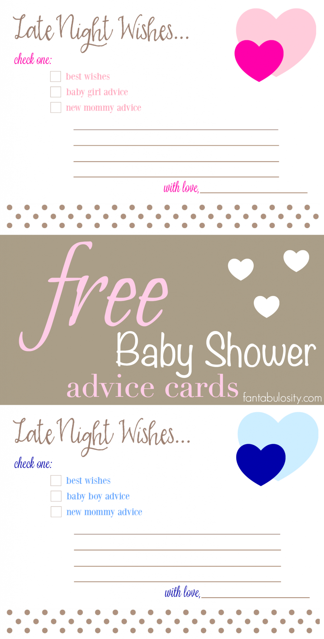 Free Printable Baby Shower Advice & Best Wishes Cards - Fantabulosity - Free Printable Baby Advice Cards