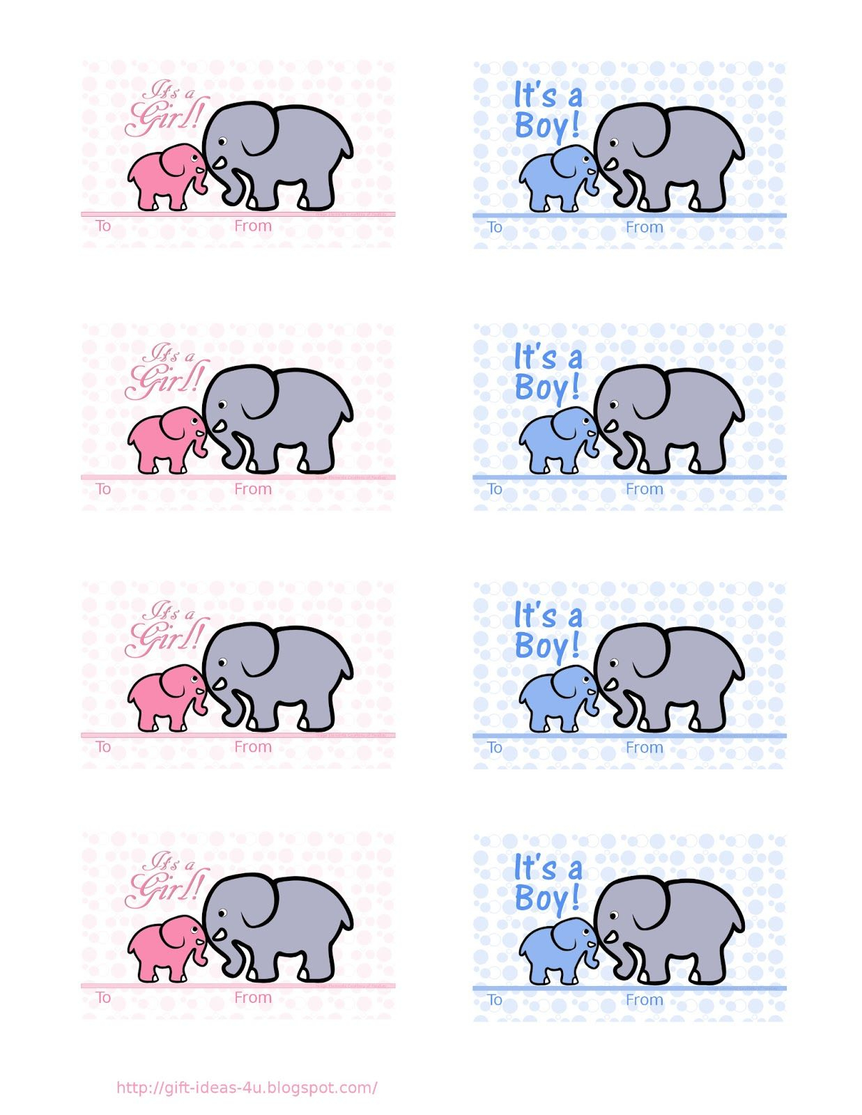 Free Printable Baby Shower Gift Tags- Two Cute Designs, One In Pink - Free Printable Baby Shower Gift Tags