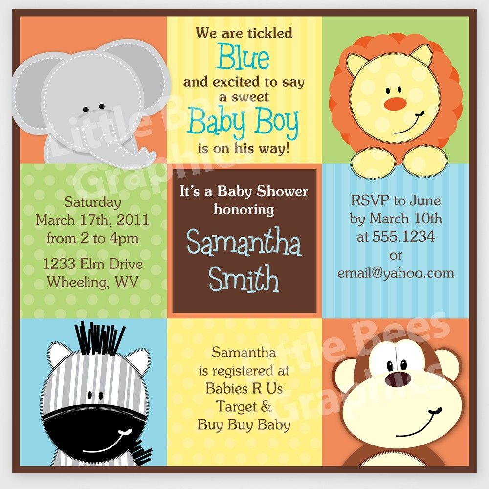 Free Printable Baby Shower Invitations   Stylish Jungle Animals - Free Printable Jungle Safari Baby Shower Invitations