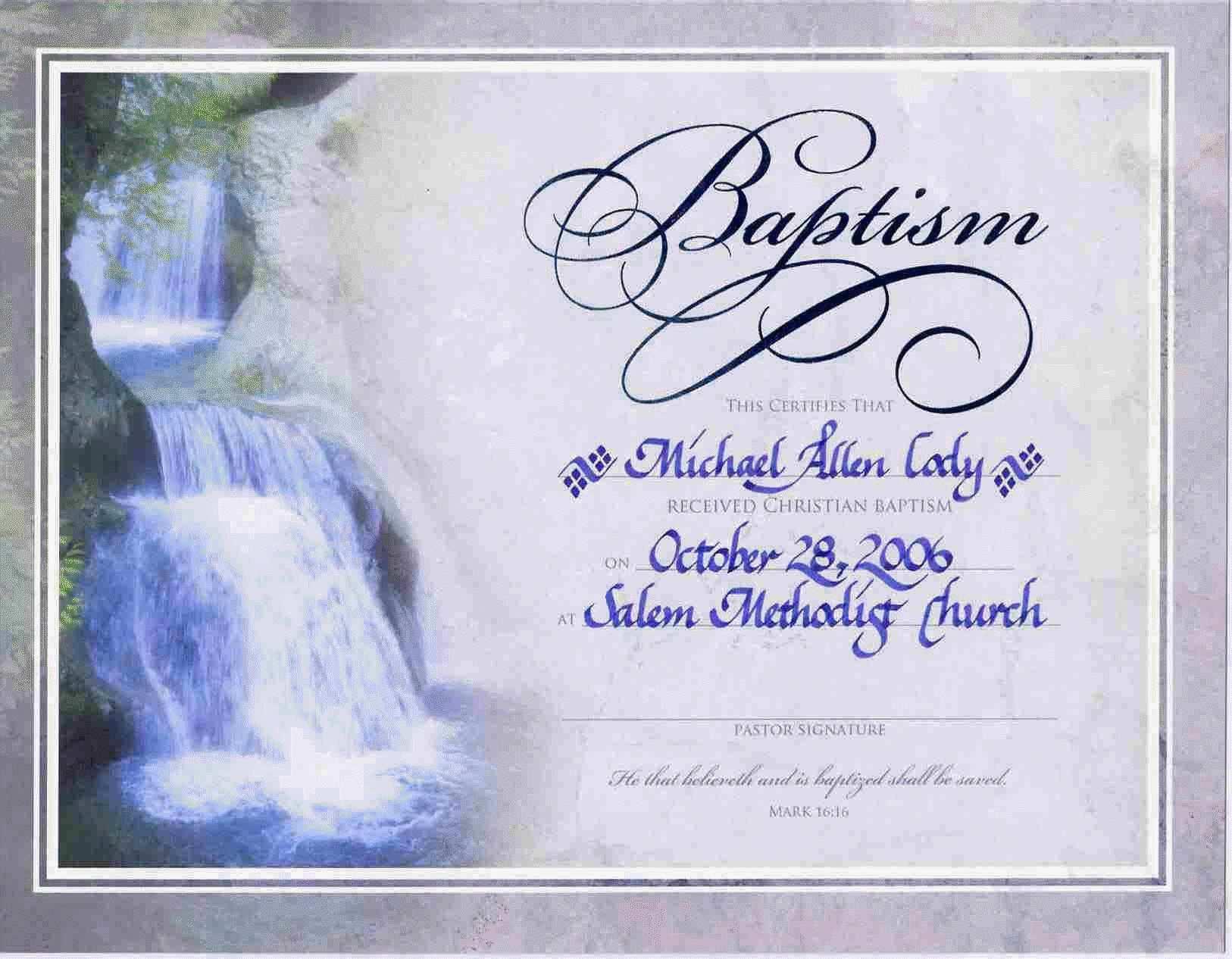 Free Printable Baptism Certificate Simple Water Baptism Certificate - Free Online Printable Baptism Certificates