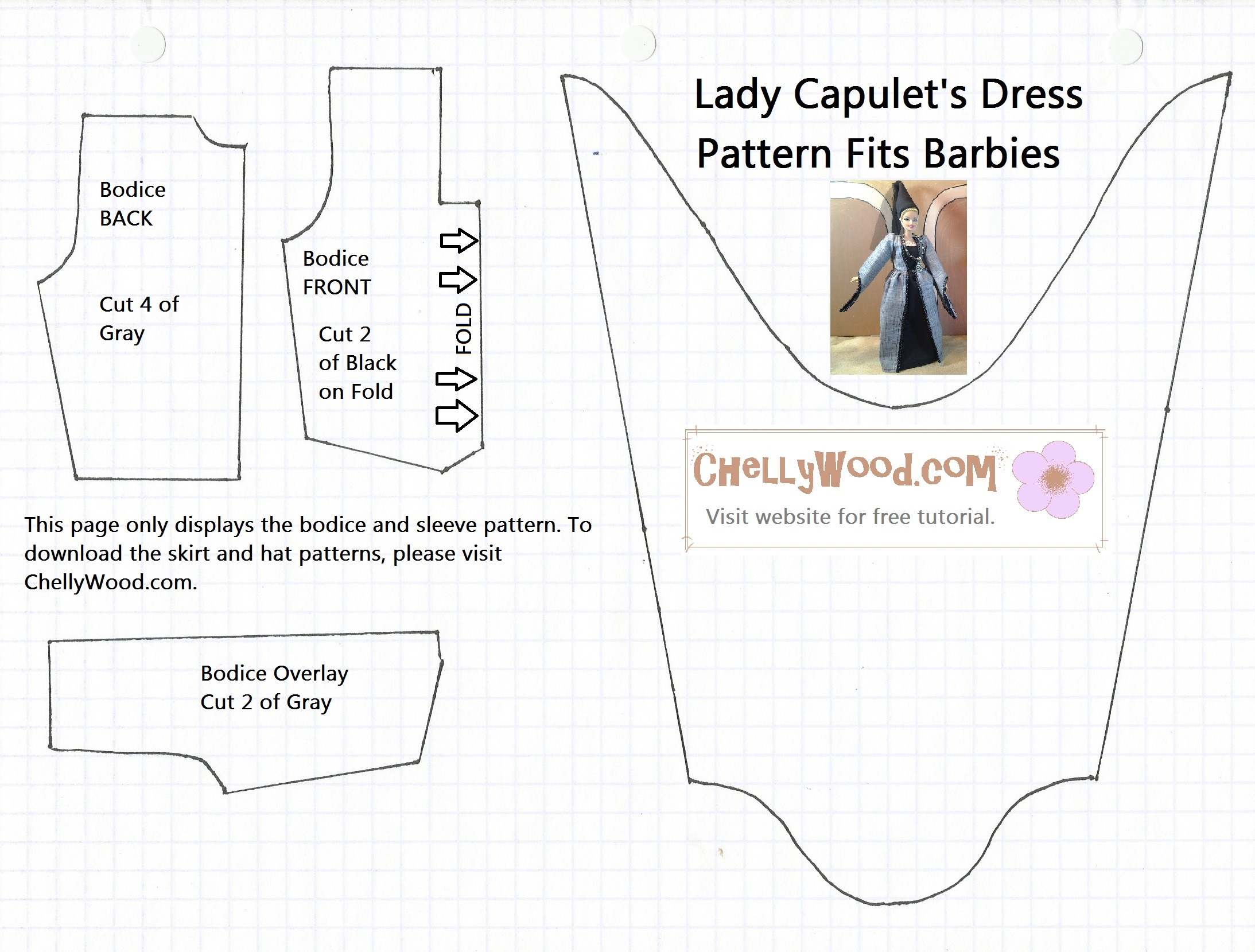 Free Printable Barbie Doll Clothes Patterns – Chellywood - Barbie Dress Patterns Free Printable Pdf