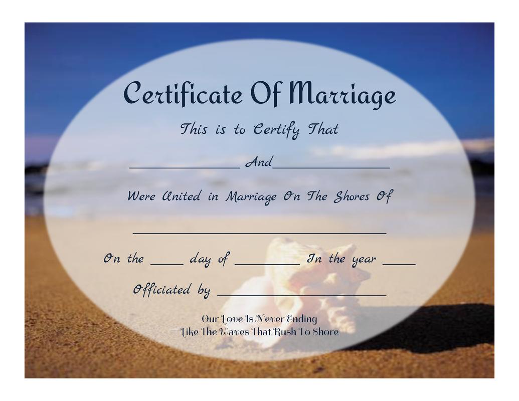 Free Printable - Beachy Keepsake Marriage Certificate | All Things - Free Printable Wedding Certificates