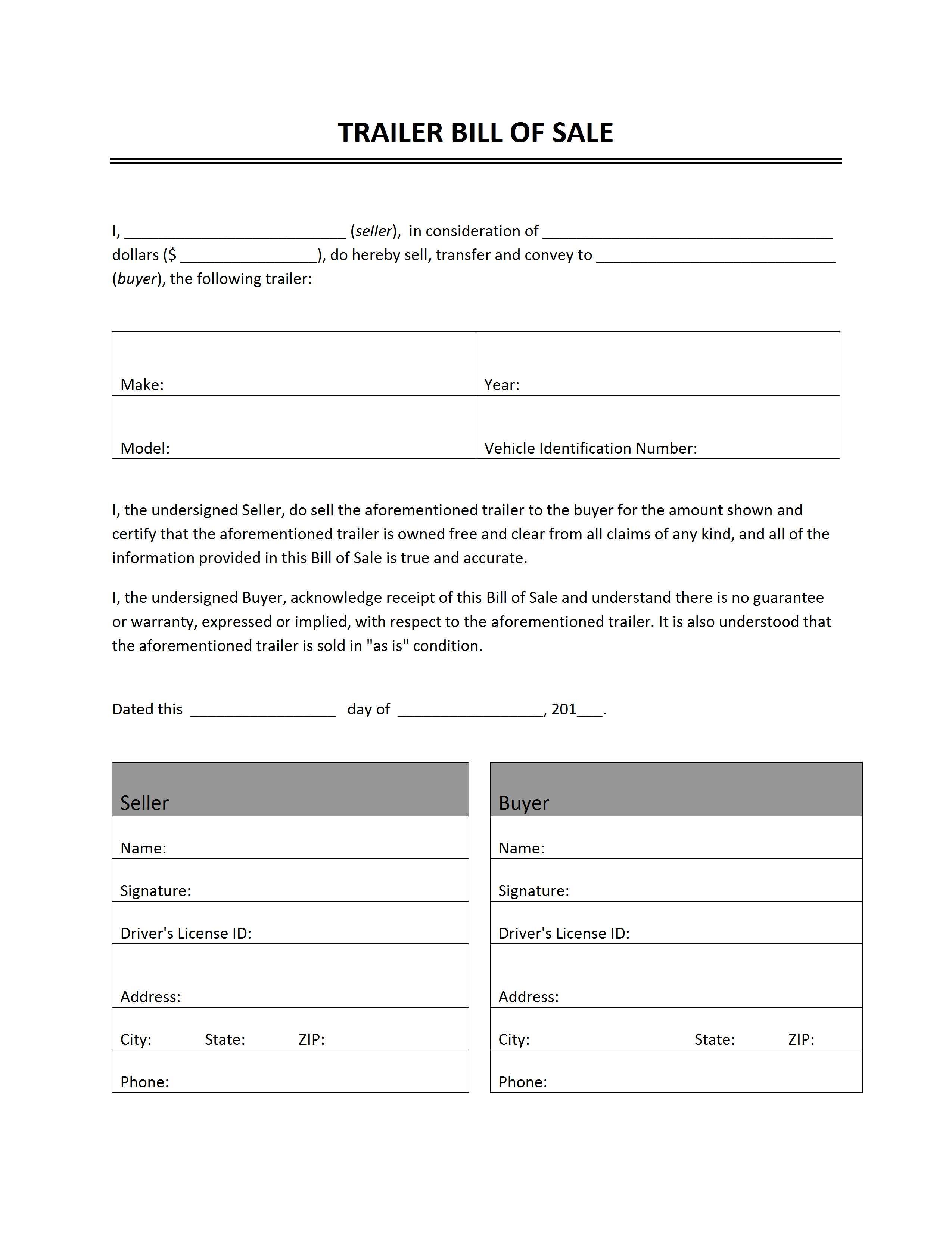 Free Printable Bill Of Sale Camper Form (Generic) - Free Printable Bill Of Sale