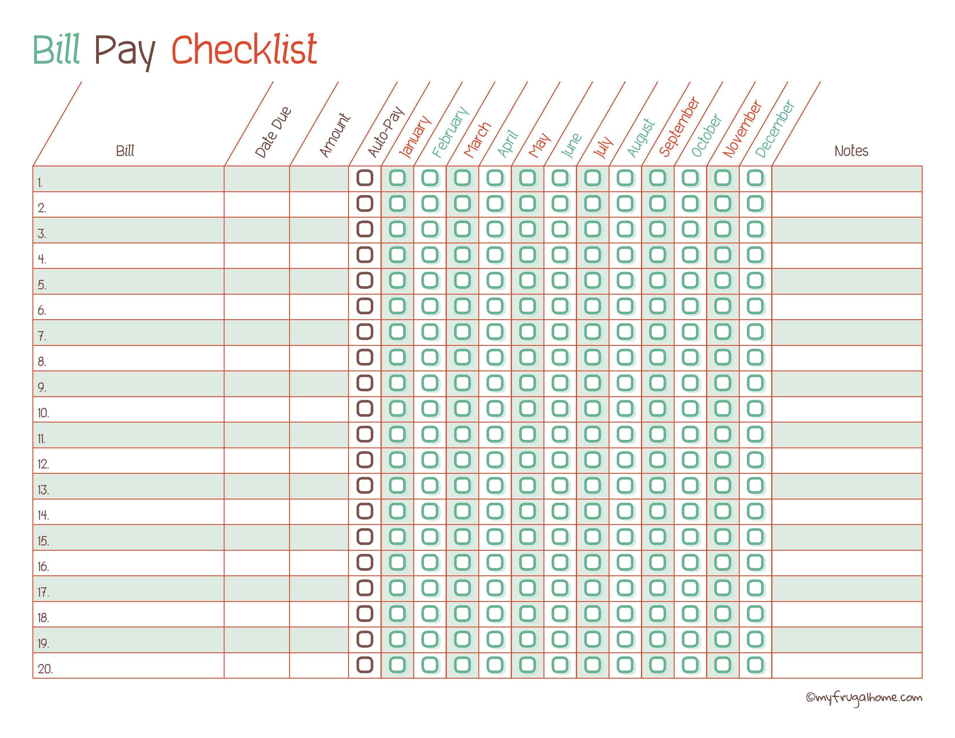 Free Printable Bill Pay Calendar Templates - Free Printable Bill Payment Checklist