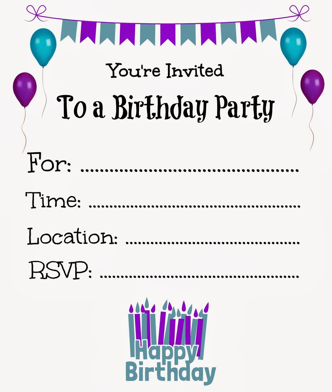 Free Printable Birthday Invitations For Kids #freeprintables - Free Printable Birthday Invitations