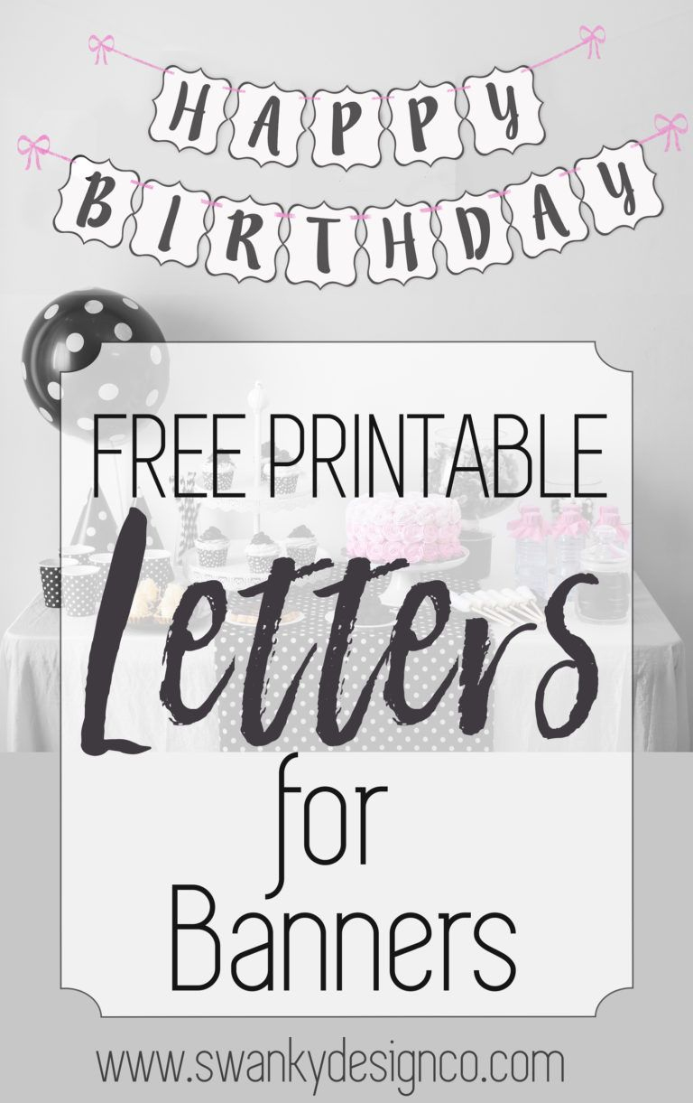Free Printable Black And White Banner Letters | Diy Banners - Free Happy Birthday Printable Letters
