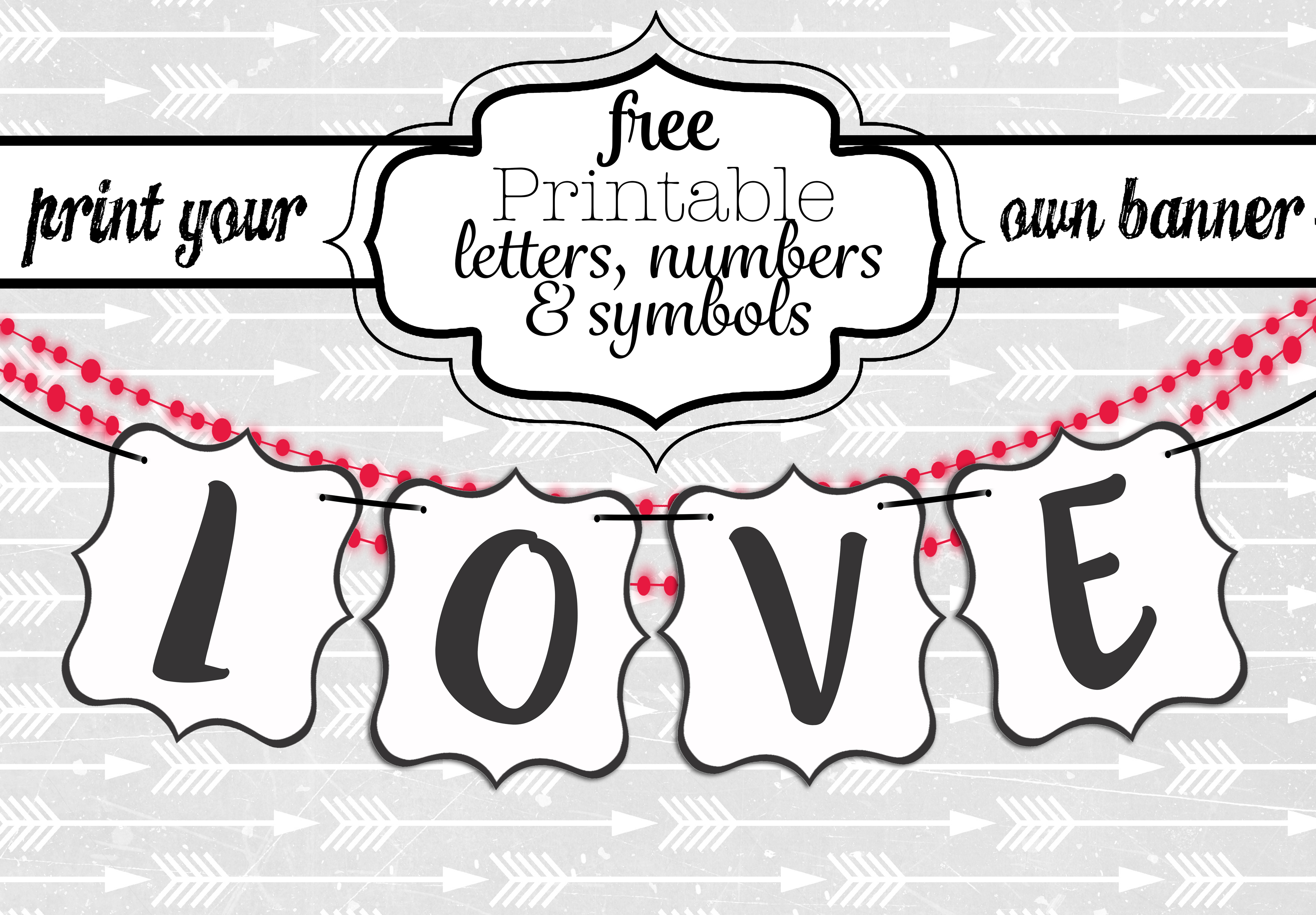 Free Printable Black And White Banner Letters   Diy Swank - Diy Birthday Banner Free Printable
