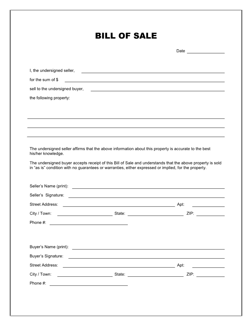 Free Printable Blank Bill Of Sale Form Template - As Is Bill Of Sale - Free Printable Vehicle Bill Of Sale