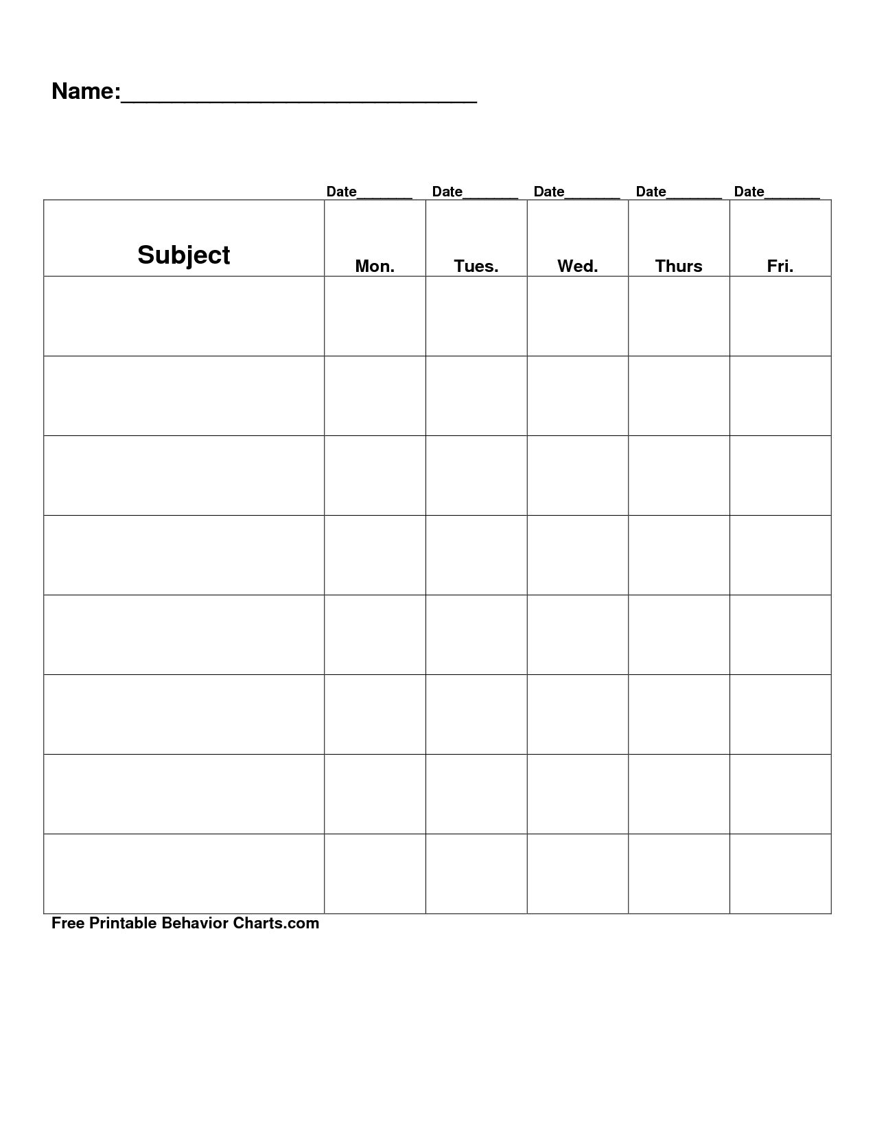 Free Printable Blank Charts | Free Printable Behavior Charts Com - Free Printable Incentive Charts For Teachers