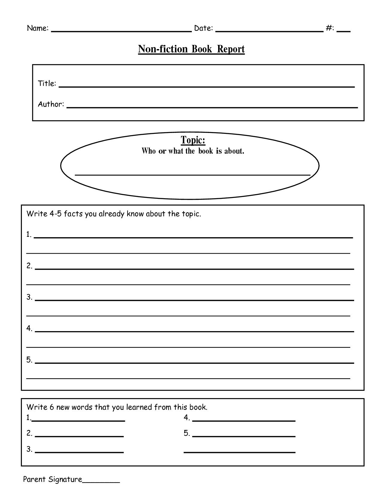 Free Printable Book Report Templates | Non-Fiction Book Report.doc - Free Printable Book Report Forms For Second Grade