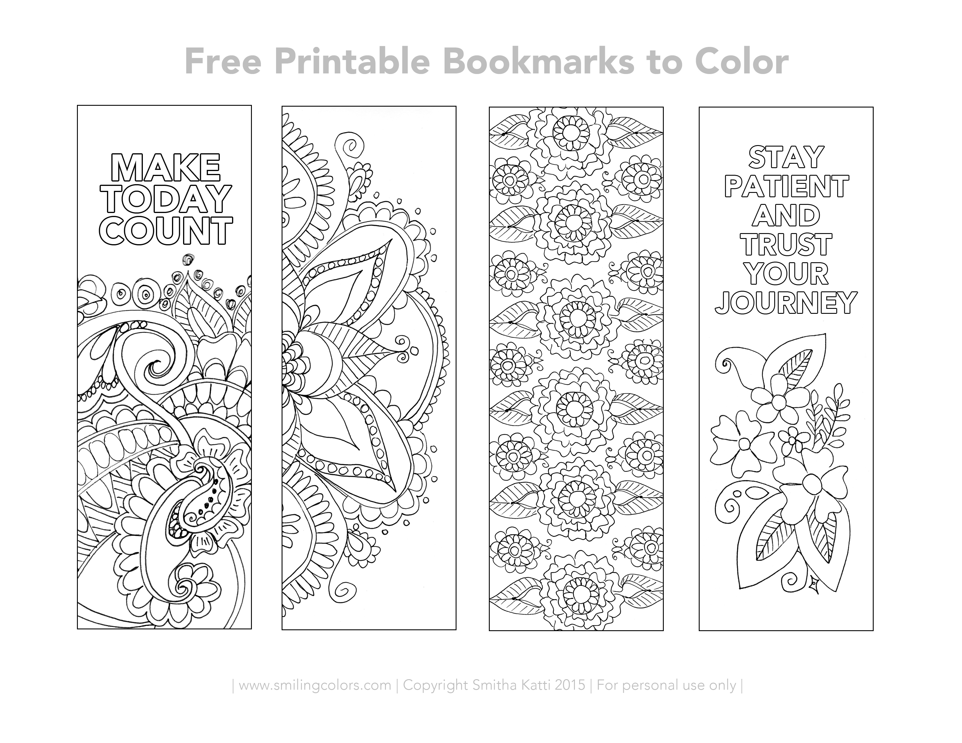 Free Printable Bookmarks To Color - Smitha Katti - Free Printable Bookmarks Templates