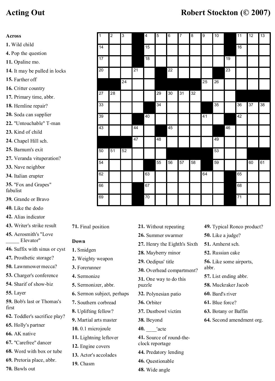 Free Printable Cards: Free Printable Crossword Puzzles   Free - Free Printable Sports Crossword Puzzles