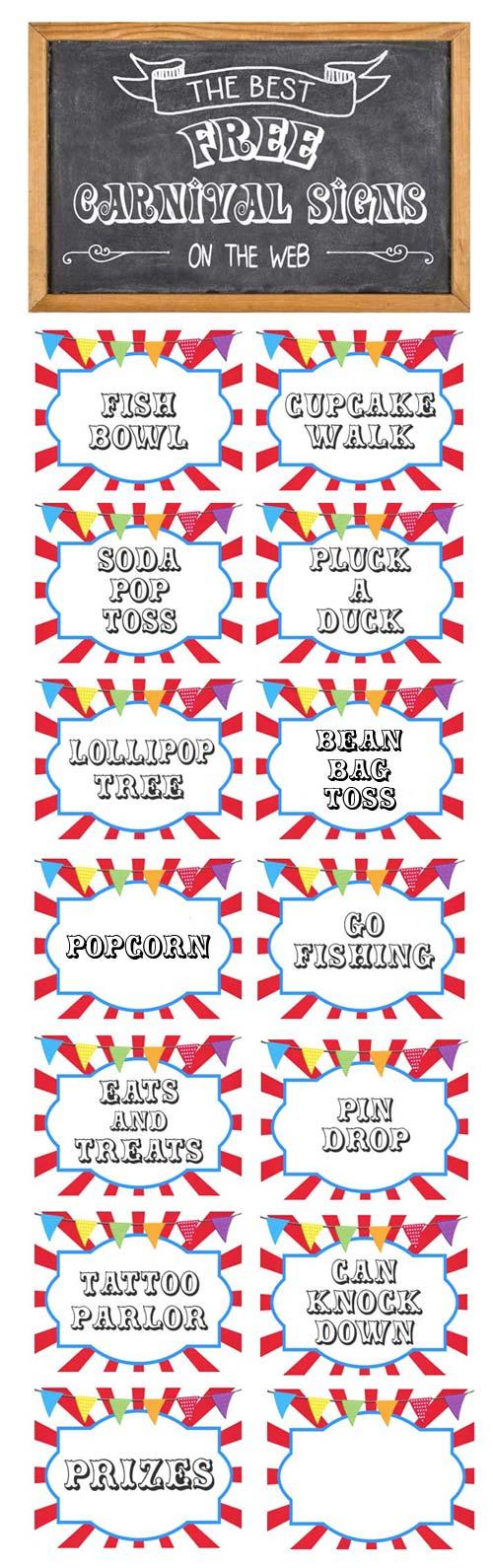 Free Printable Carnival Signs - Free Printable Carnival Signs