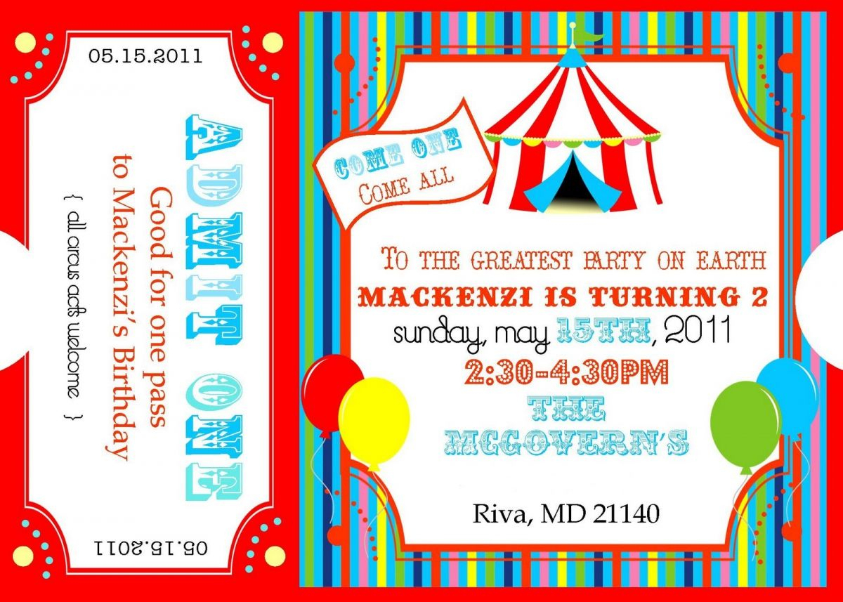 Free Printable Carnival Ticket Invitations | Logan's 1St Birthday - Free Printable Ticket Invitation Templates