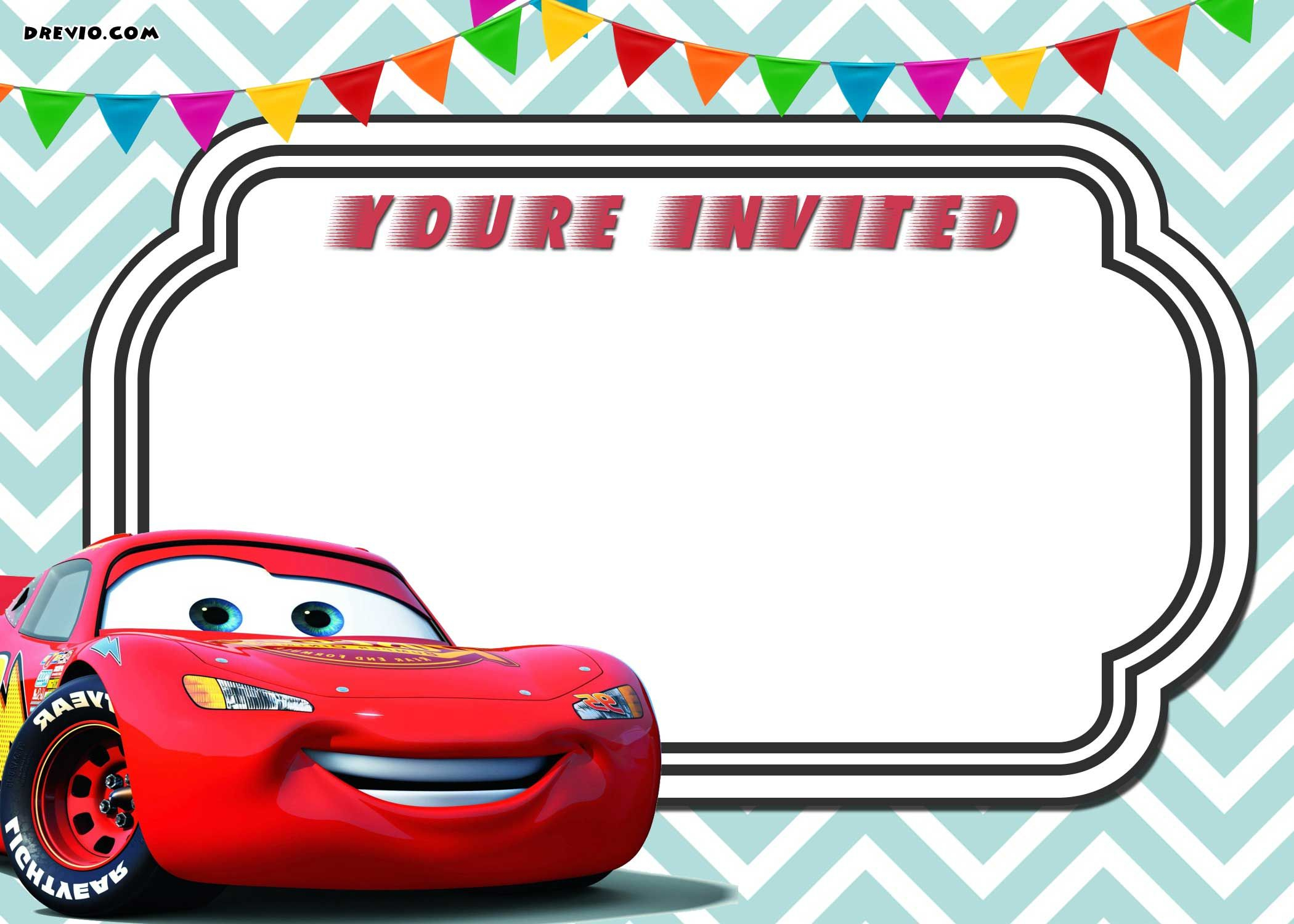 Free Printable Cars 3 Lightning Mcqueen Invitation | Free - Free Printable Disney Cars Water Bottle Labels