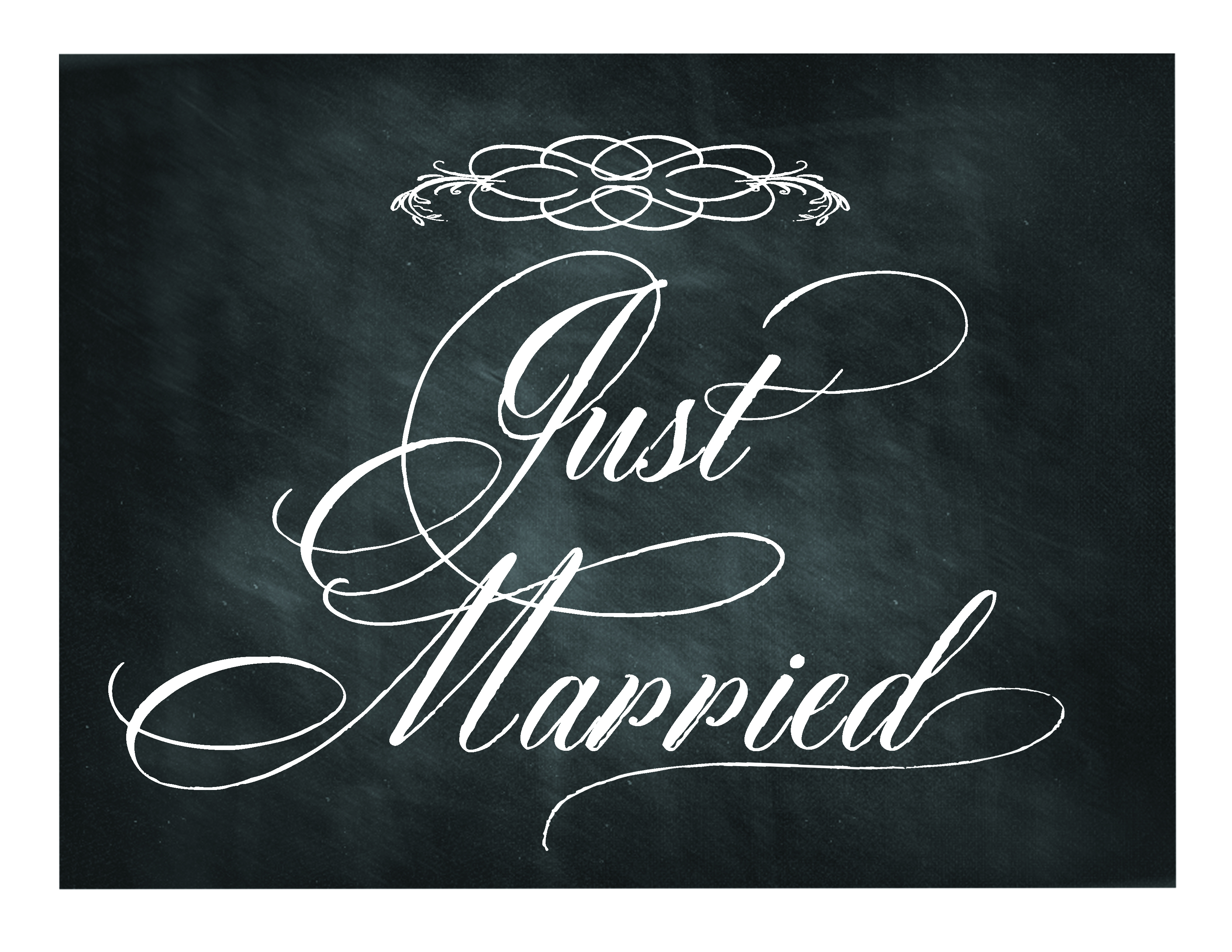 Free Printable Chalkboard Sign: Just Married | Lettering Art Studio - Just Married Free Printable