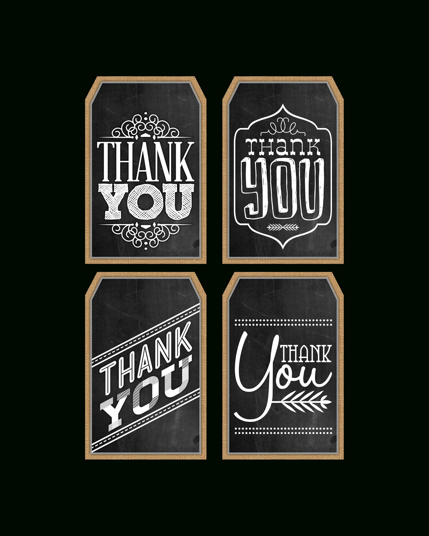 Free Printable Chalkboard Thank You Tags | Thank You's | Pinterest - Free Printable Thank You Tags
