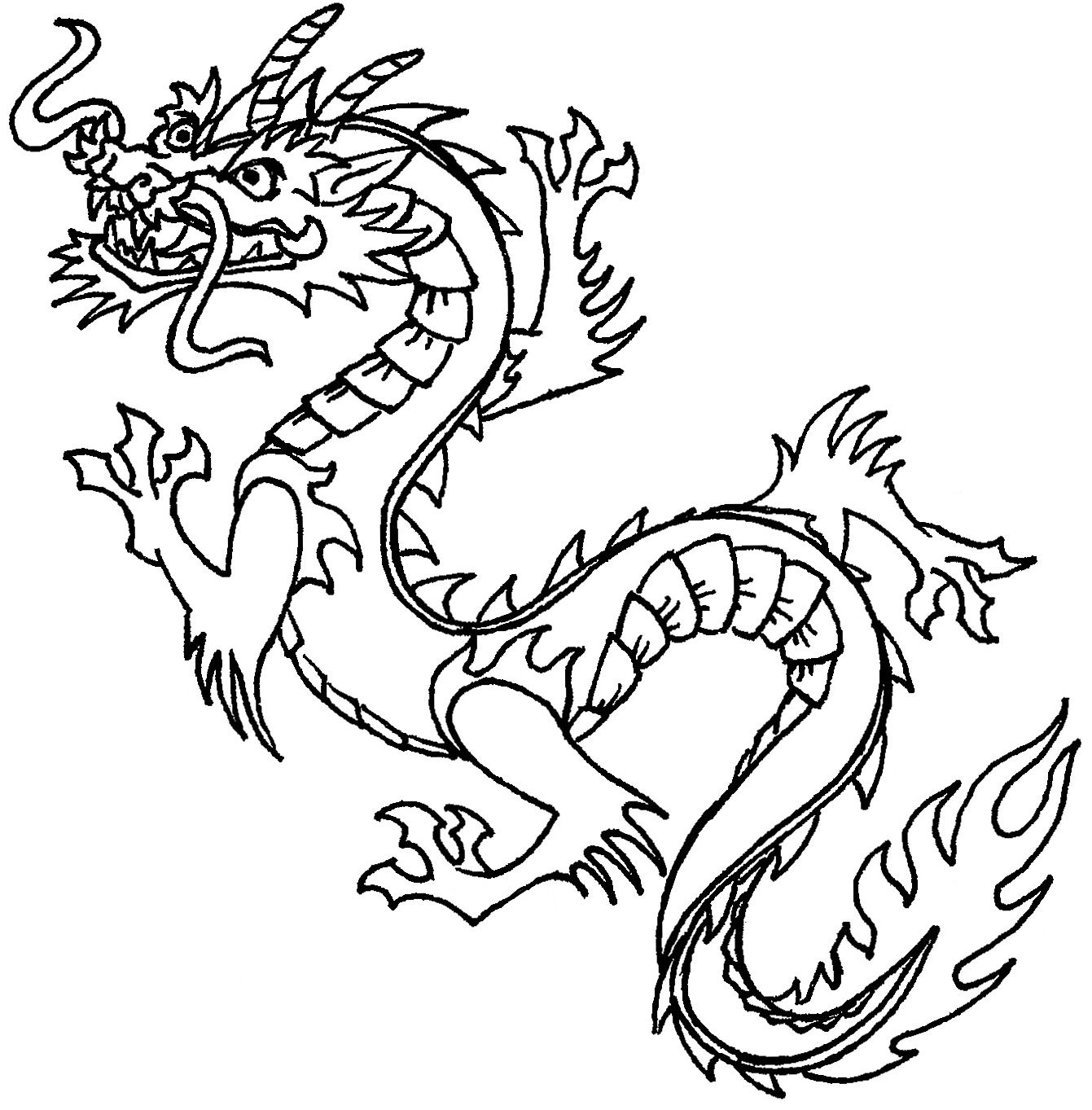 Free Printable Chinese Dragon Coloring Pages For Kids   Stencils - Free Printable Chinese Dragon Coloring Pages