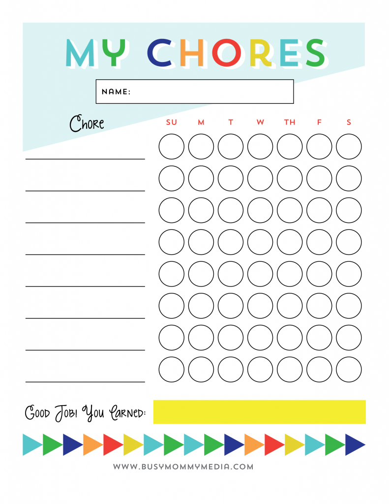 Free Printable - Chore Chart For Kids | Ogt Blogger Friends - Free Printable Chore Charts
