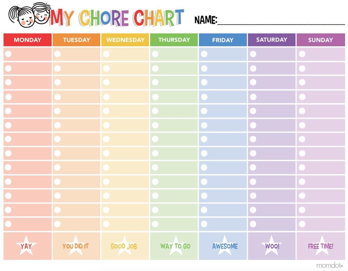 Free Printable Chore Chart - - Free Printable Chore Charts For Kids