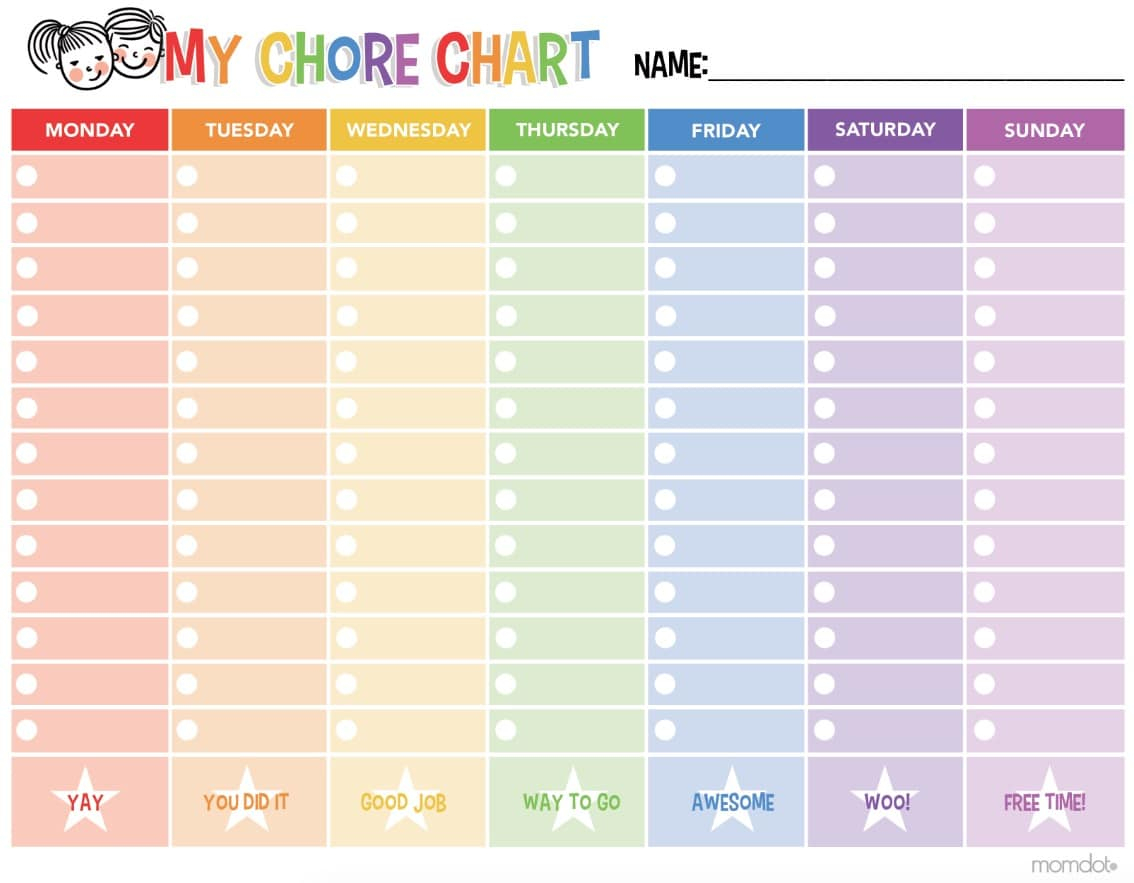 Free Printable Chore Chart - - Free Printable Chore Charts For Multiple Children